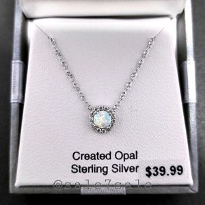 Jewelry - Sterling Silver 925 Lab White Opal Necklace